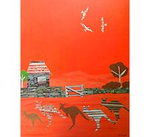 Kangaroo country - Collage of old Australian outback scene Photographic Print