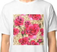 Baroque Roses, painterly roses against damask Classic T-Shirt