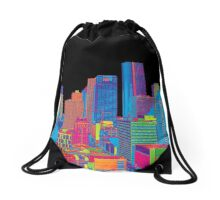 Houston Skyline in Color Drawstring Bag