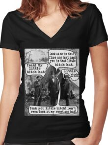 Abe Lincoln and the Little Bitch Hat Women's Fitted V-Neck T-Shirt