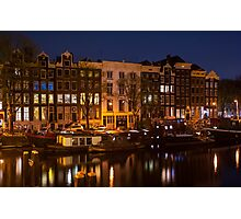 Night Lights on the Amsterdam Canals 7. Holland Photographic Print