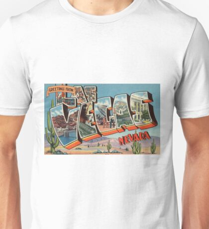 Vintage Colorful Greetings From Las Vegas Nevada Unisex T-Shirt