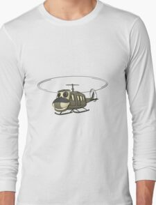Military Helicopter Cartoon Long Sleeve T-Shirt