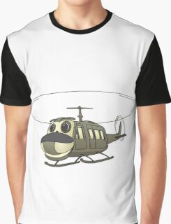 Military Helicopter Cartoon Graphic T-Shirt