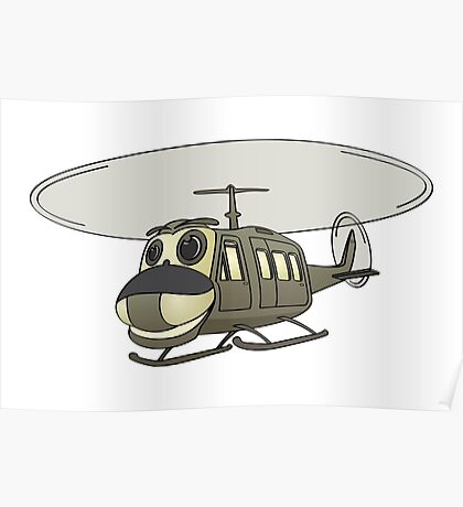 Military Helicopter Cartoon Poster