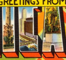 Vintage Colorful Greetings From Chicago Illinois Sticker