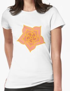 Pink and Gold Rose Womens Fitted T-Shirt