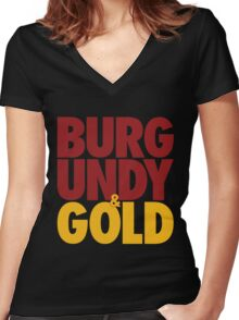 Burgundy & Gold Redskins DC Football by AiReal Apparel Women's Fitted V-Neck T-Shirt