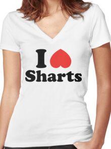 I Heart Sharts Women's Fitted V-Neck T-Shirt