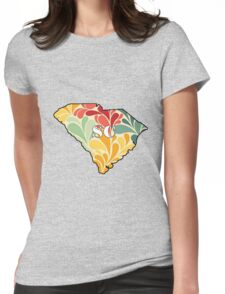 Floral South Carolina Womens Fitted T-Shirt