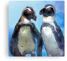 Painterly Penguin Pair Canvas Print
