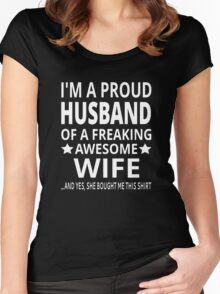 I'm A Proud Husband Of A Freaking Awesome Wife Women's Fitted Scoop T-Shirt