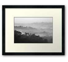 Mist above Borobudur as viewed from Setumbu hill, Java island, Indonesia Framed Print