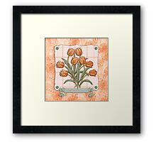 Vintage Orange Tulips Peach Pink Plaid Green Ribbon Framed Print