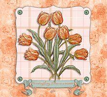 Vintage Orange Tulips Peach Pink Plaid Green Ribbon by Beverly Claire Kaiya