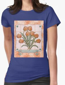 Vintage Orange Tulips Peach Pink Plaid Green Ribbon T-Shirt