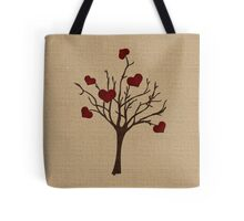Valentine Tree Hearts Wooden Branches Burlap Love Tote Bag