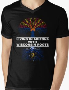 LIVING IN ARIZONA WITH WISCONSIN ROOTS Mens V-Neck T-Shirt
