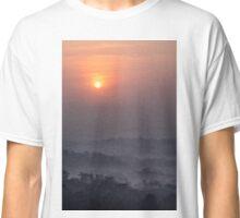 Sun above Borobudur, view from Setumbu hill, Java island, Indonesia Classic T-Shirt
