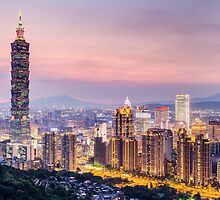 Taipei 101 tower in Taipei, Taiwan at sunset by Aurádius Photography