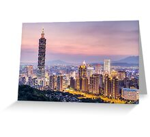 Taipei 101 tower in Taipei, Taiwan at sunset Greeting Card