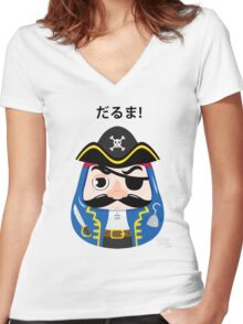 Pirates Daruma Women's Fitted V-Neck T-Shirt
