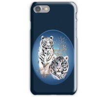 Two White Tigers Oval  iPhone Case/Skin