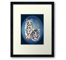 Two White Tigers Oval  Framed Print