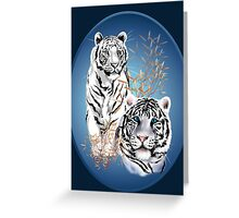 Two White Tigers Oval  Greeting Card