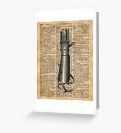 Robo Hand,Artifical Arm Dictionary Art Greeting Card