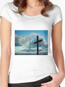 JESUS LIVES >ALL SIGNS POINT TO HIS SOON RETURN > VARIOUS APPAREL Women's Fitted Scoop T-Shirt