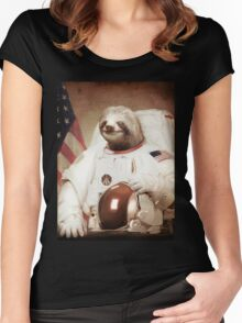 Sloth Astronaut Women's Fitted Scoop T-Shirt