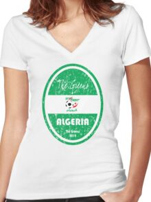 World Cup Football - Algeria Women's Fitted V-Neck T-Shirt