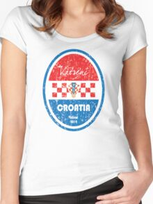 World Cup Football - Croatia Women's Fitted Scoop T-Shirt
