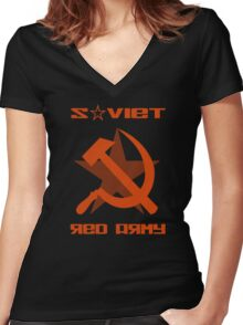 SOVIET RED ARMY HAMMER & SICKLE Women's Fitted V-Neck T-Shirt