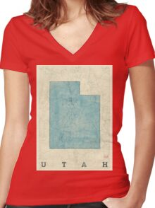 Utah State Map Blue Vintage Women's Fitted V-Neck T-Shirt