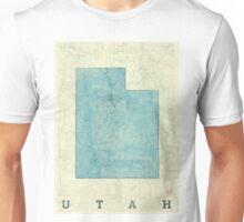 Utah State Map Blue Vintage Unisex T-Shirt