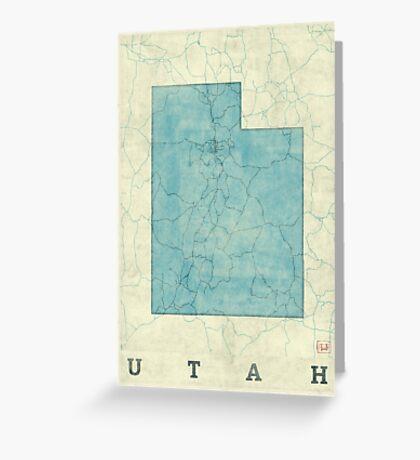 Utah State Map Blue Vintage Greeting Card