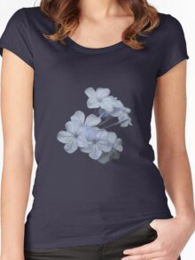 Pale Blue Plumbago Isolated Women's Fitted Scoop T-Shirt