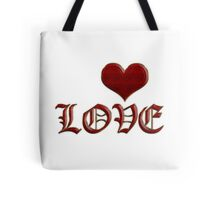 Love Heart Old English Classic Lettering Red Gold Tote Bag
