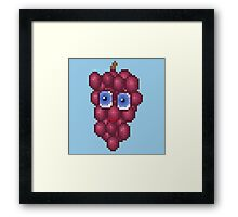 Grape Pixel Smile - Blue Background Framed Print