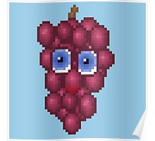 Grape Pixel Smile - Blue Background Poster
