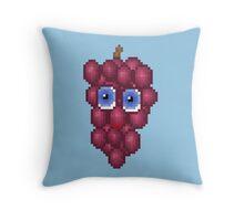 Grape Pixel Smile - Blue Background Throw Pillow