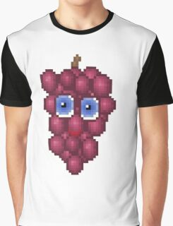 Grape Pixel Smile - White Background Graphic T-Shirt
