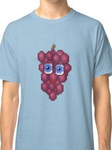 Grape Pixel Smile - Blue Background Classic T-Shirt