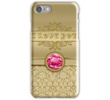 Love Ruby Red Gemstone Metallic Shiny Gold Damask iPhone Case/Skin