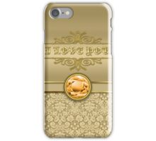 Love Orange Topaz Gemstone Metallic Gold Damask iPhone Case/Skin