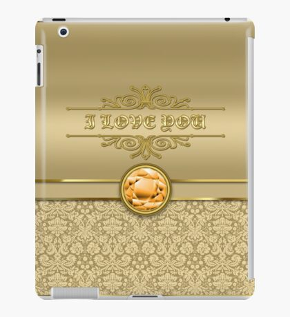 Love Orange Topaz Gemstone Metallic Gold Damask iPad Case/Skin