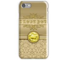 Love Citrine Yellow Gemstone Metallic Gold Damask iPhone Case/Skin