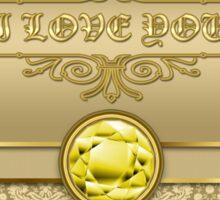 Love Citrine Yellow Gemstone Metallic Gold Damask Sticker
